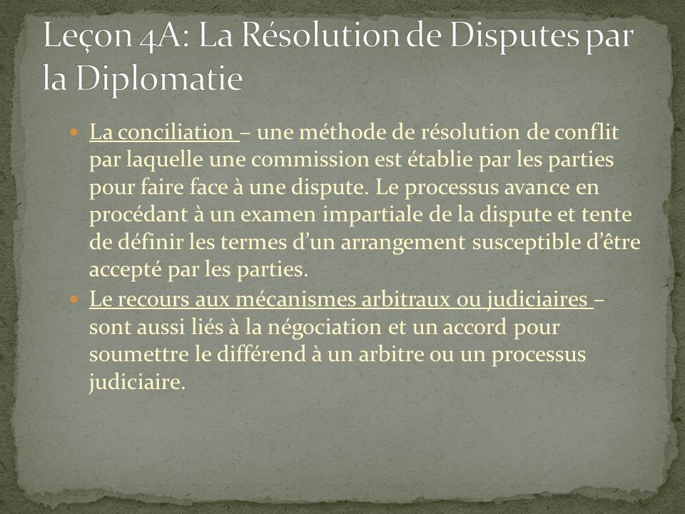 Leçon 4A: La Résolution de Disputes par la Diplomatie