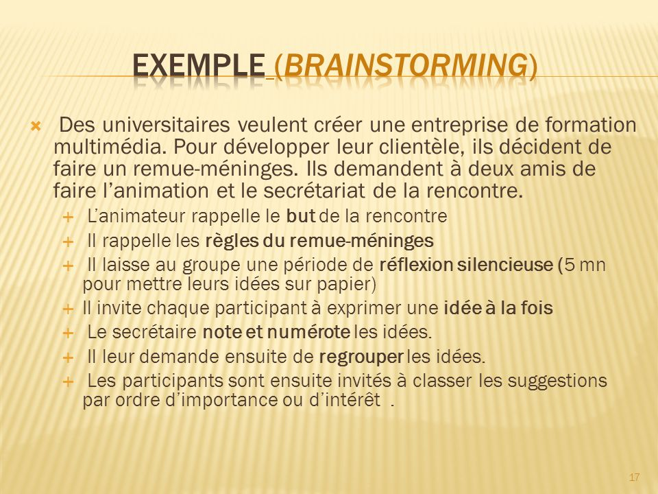 EXEMPLE (brainstorming)