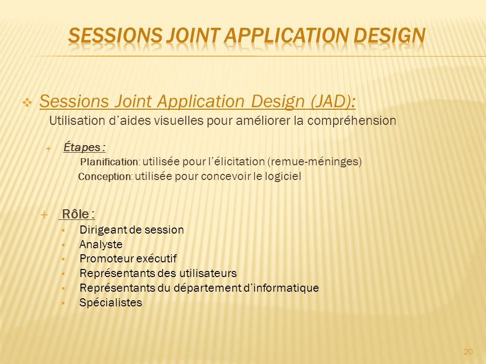 Sessions Joint Application Design