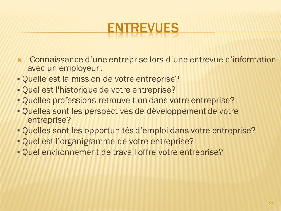 Entrevues Connaissance d'une entreprise lors d'une entrevue d'information avec un employeur : ▪ Quelle est la mission de votre entreprise