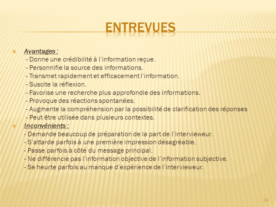 Entrevues Avantages : - Donne une crédibilité à l'information reçue.