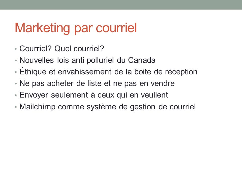 Marketing par courriel