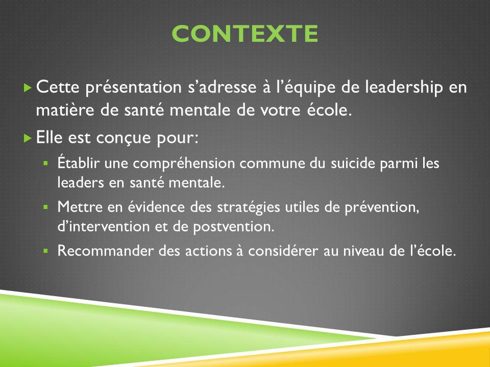 ContextE Cette présentation s'adresse à l'équipe de leadership en matière de santé mentale de votre école.
