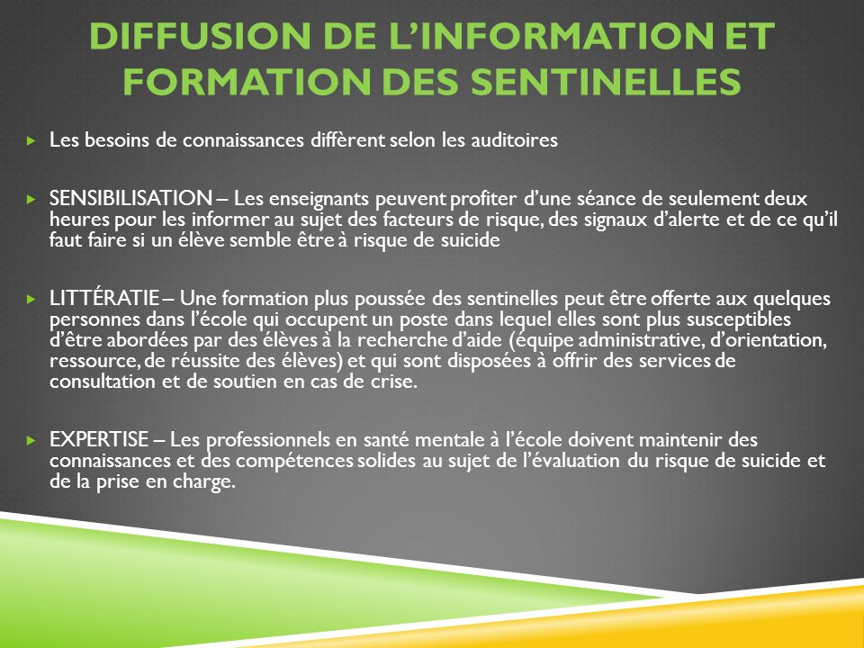 Diffusion de l'information et formation des Sentinelles
