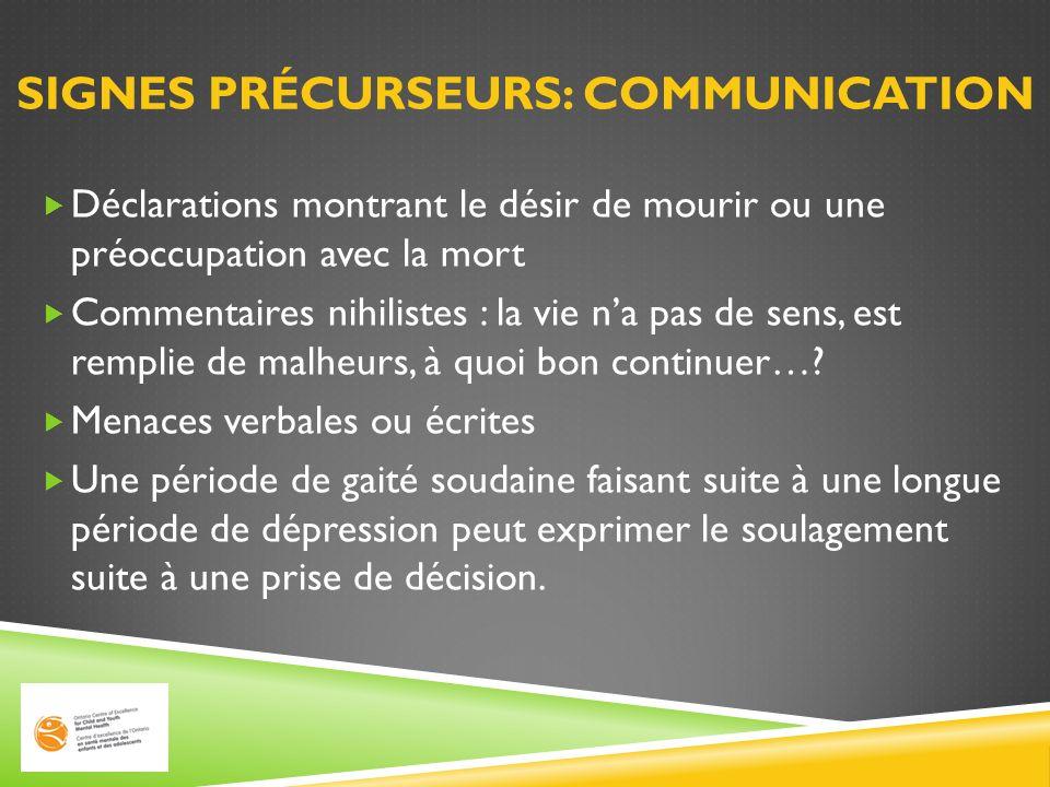 Signes précurseurs: Communication
