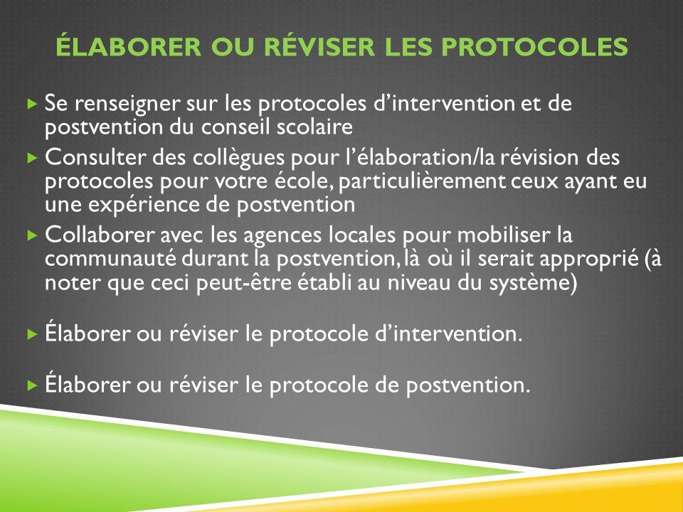 Élaborer ou réviser les protocoles
