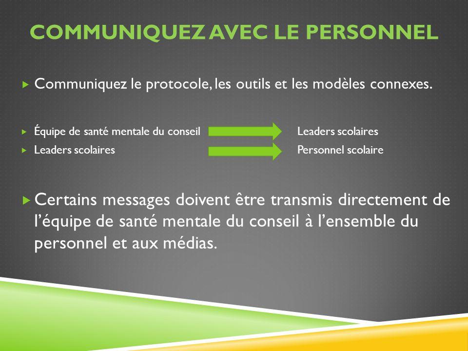 Communiquez avec le personnel