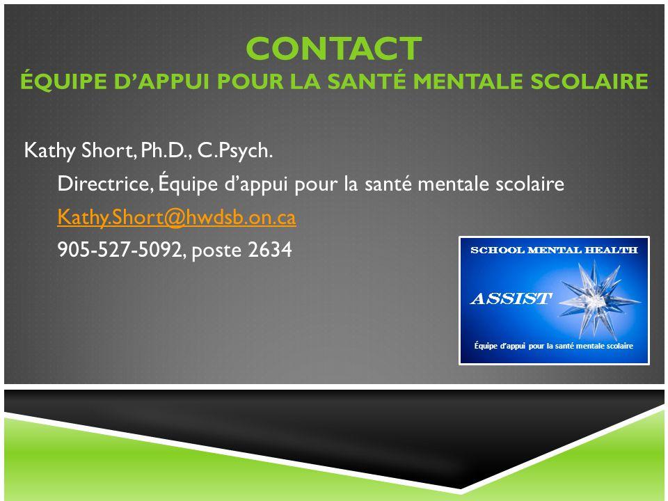 Contact ÉQUIPE D'APPUI POUR LA SANTÉ MENTALE scolaire