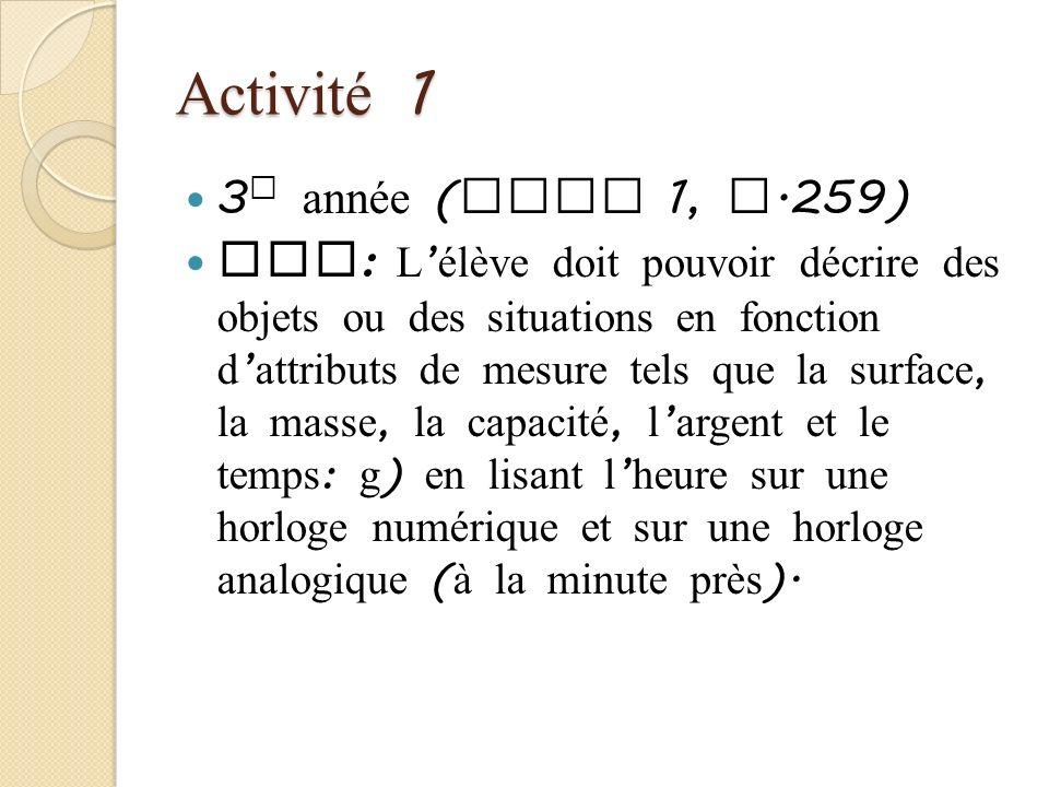 Activité 1 3e année (Tome 1, p.259)
