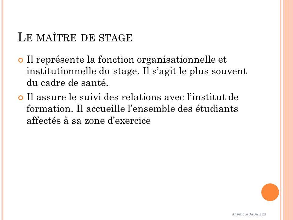 Le maître de stage Il représente la fonction organisationnelle et institutionnelle du stage. Il s'agit le plus souvent du cadre de santé.
