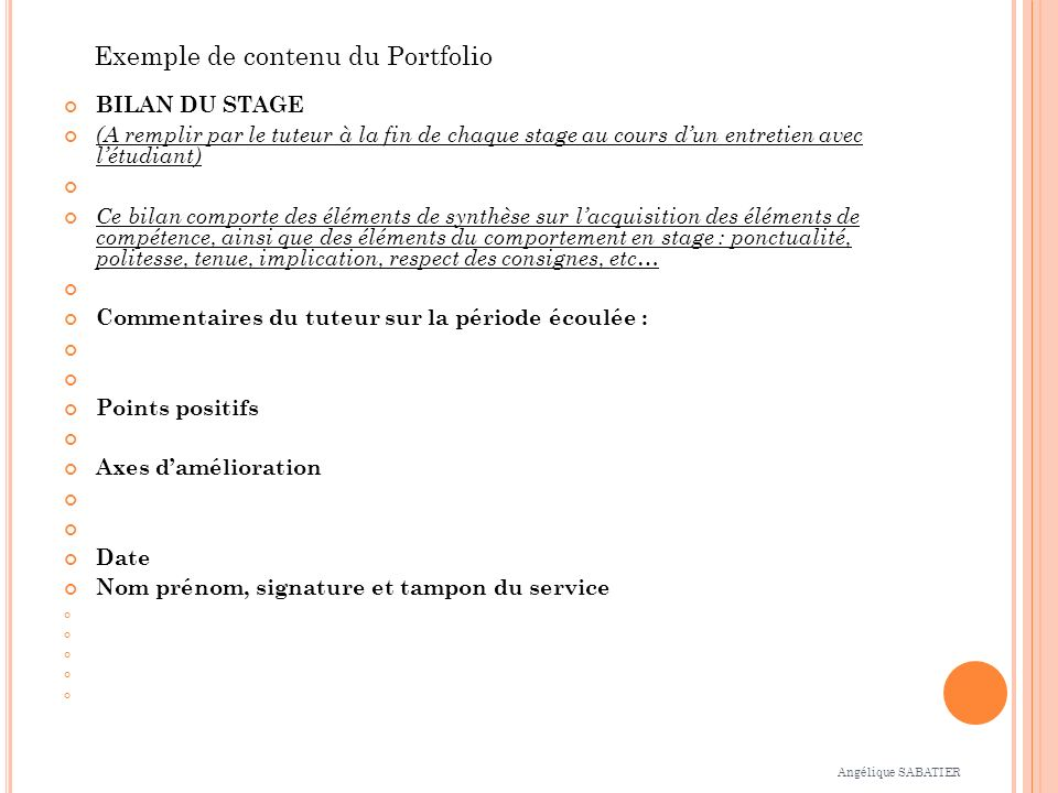 Exemple de contenu du Portfolio