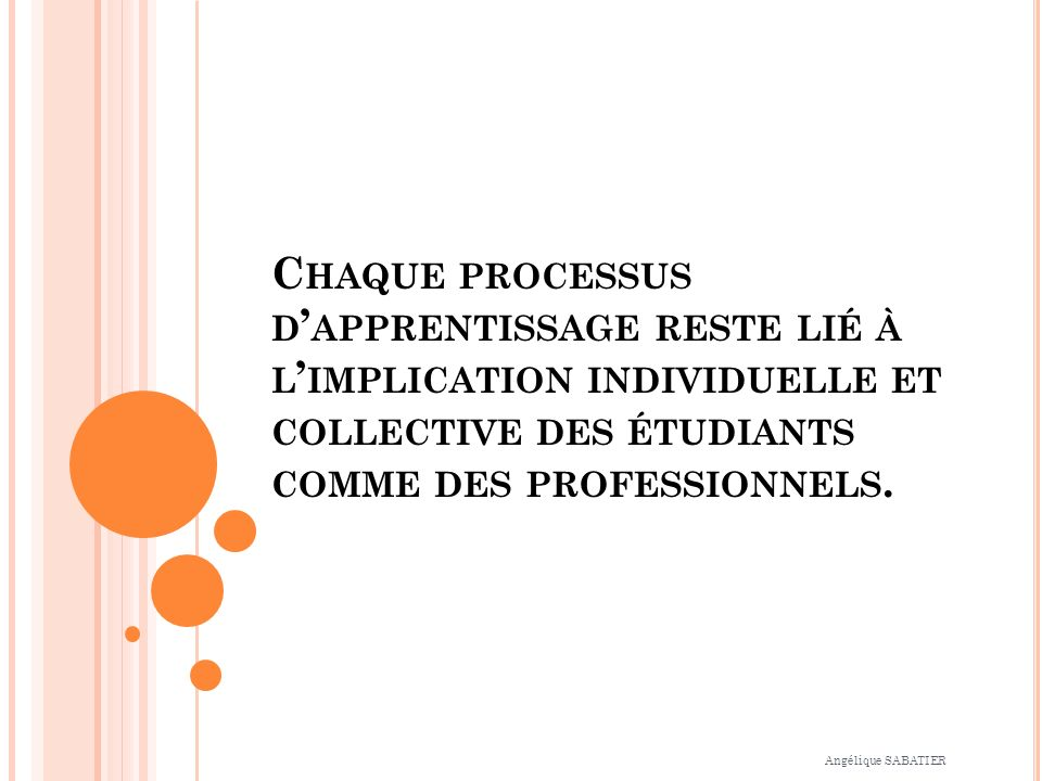 Chaque processus d'apprentissage reste lié à l'implication individuelle et collective des étudiants comme des professionnels.