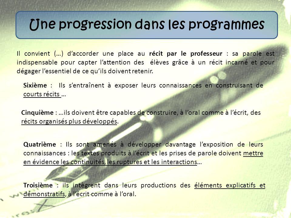 Une progression dans les programmes