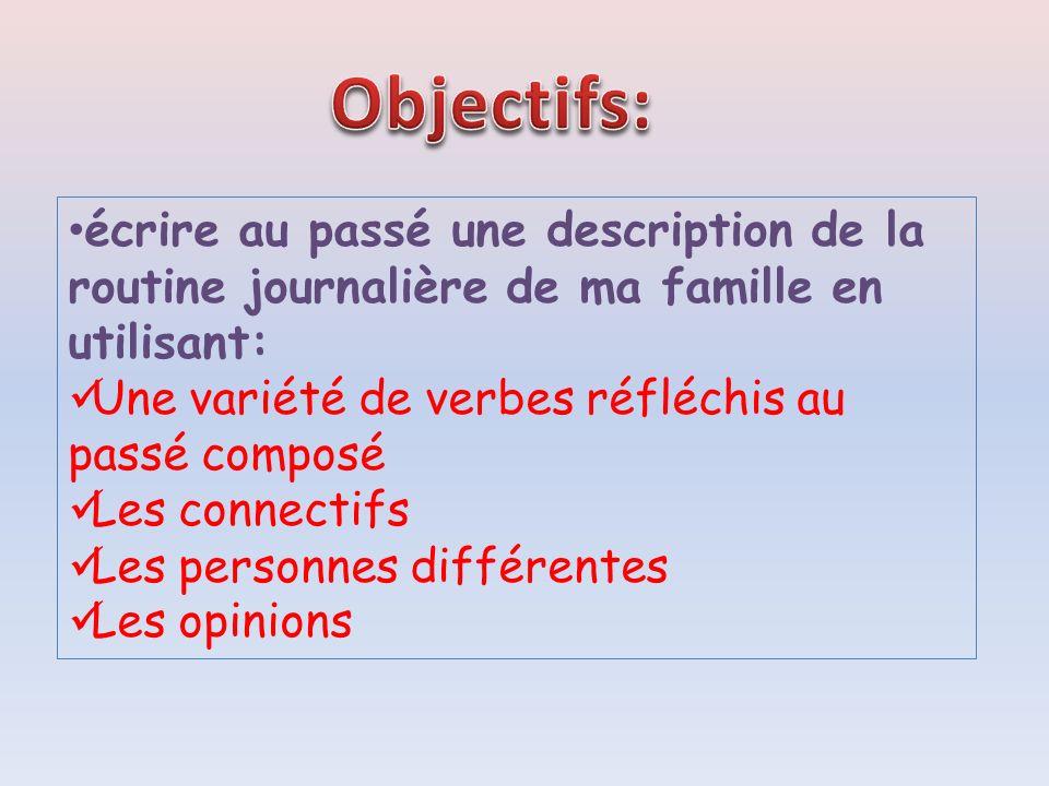 Objectifs: écrire au passé une description de la routine journalière de ma famille en utilisant: Une variété de verbes réfléchis au passé composé.