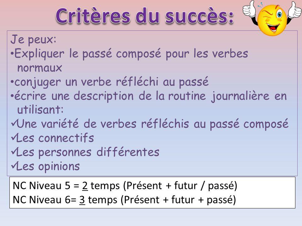 Critères du succès: Je peux: