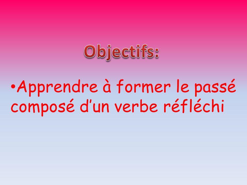 Objectifs: Apprendre à former le passé composé d'un verbe réfléchi