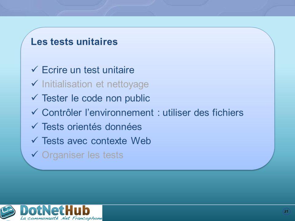 Les tests unitaires Ecrire un test unitaire. Initialisation et nettoyage. Tester le code non public.