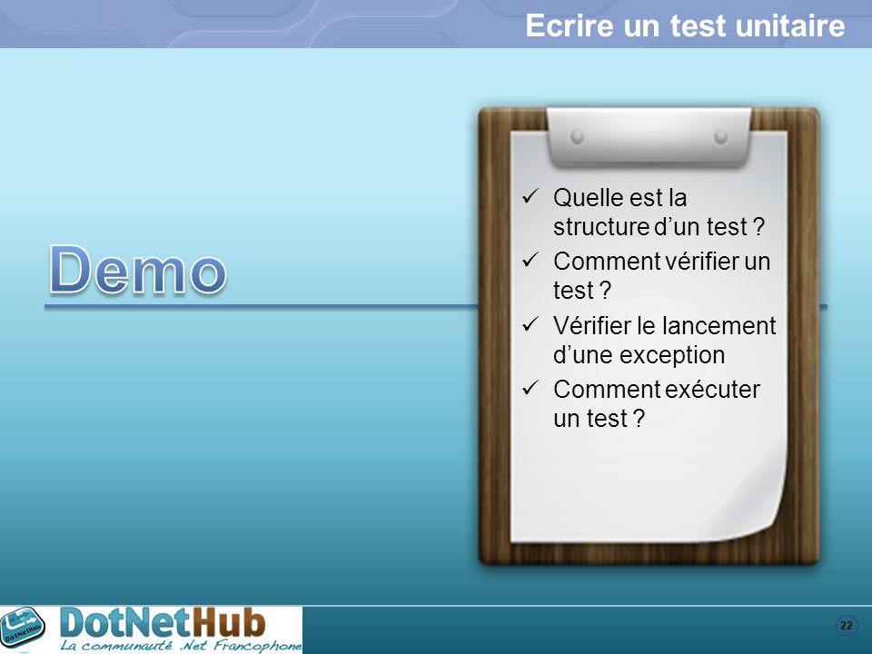 Ecrire un test unitaire