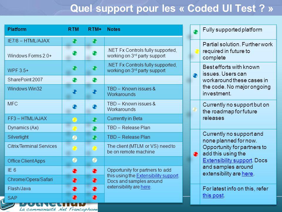 Quel support pour les « Coded UI Test »
