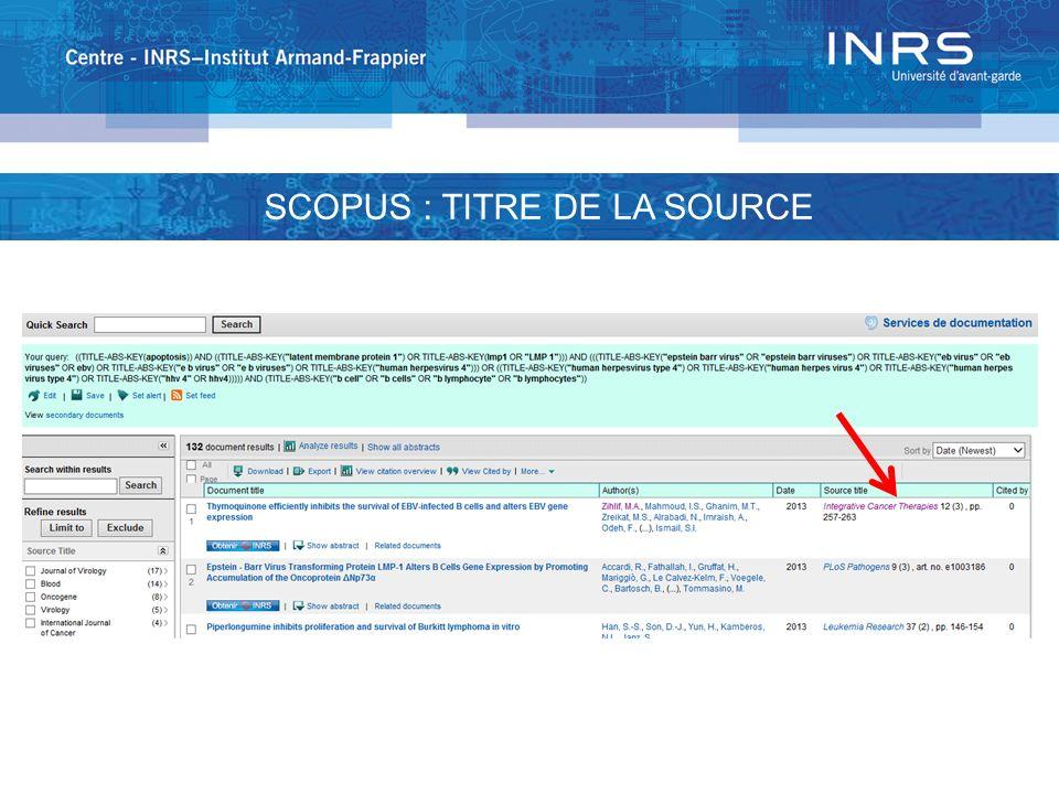 SCOPUS : TITRE DE LA SOURCE