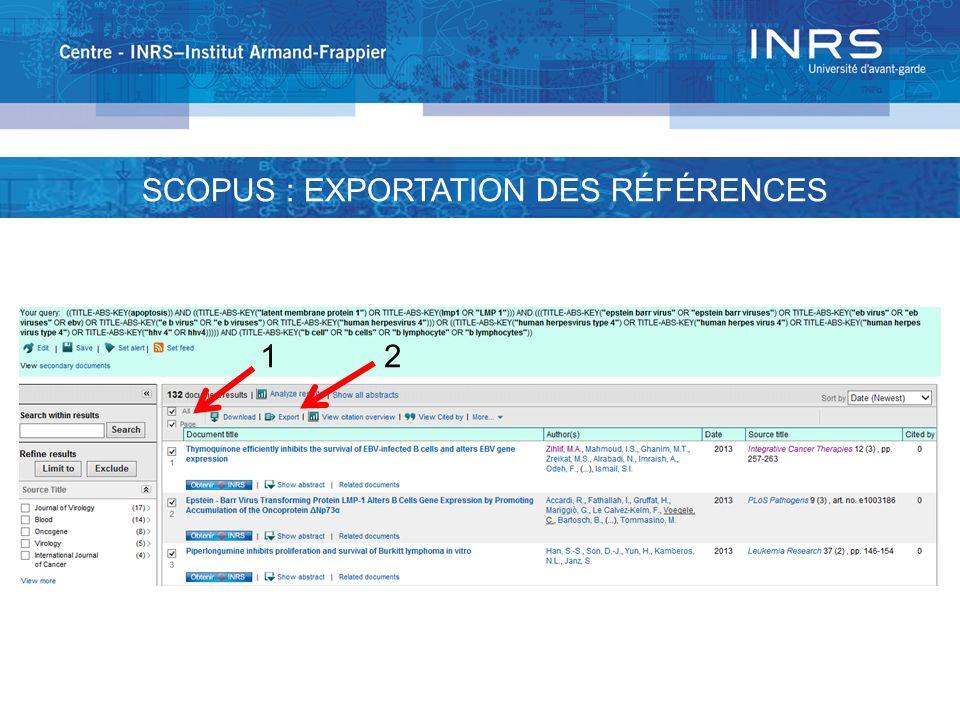 1 2 SCOPUS : EXPORTATION DES RÉFÉRENCES