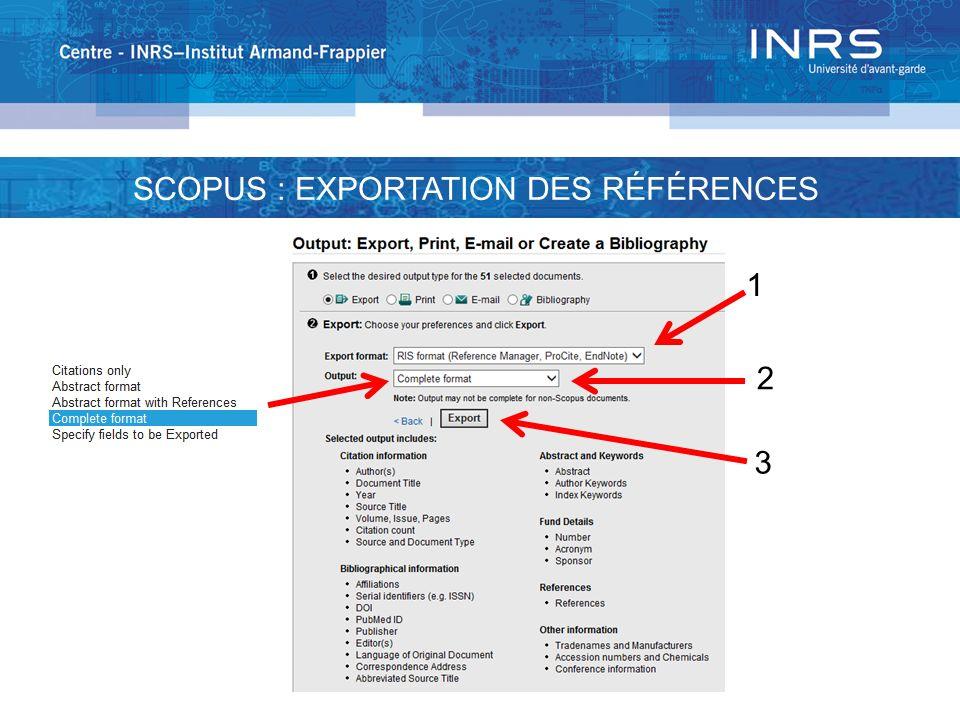 1 2 3 SCOPUS : EXPORTATION DES RÉFÉRENCES