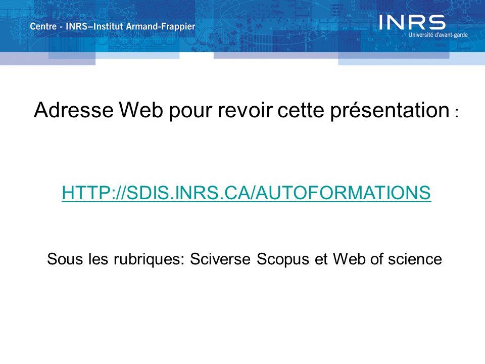 Sous les rubriques: Sciverse Scopus et Web of science