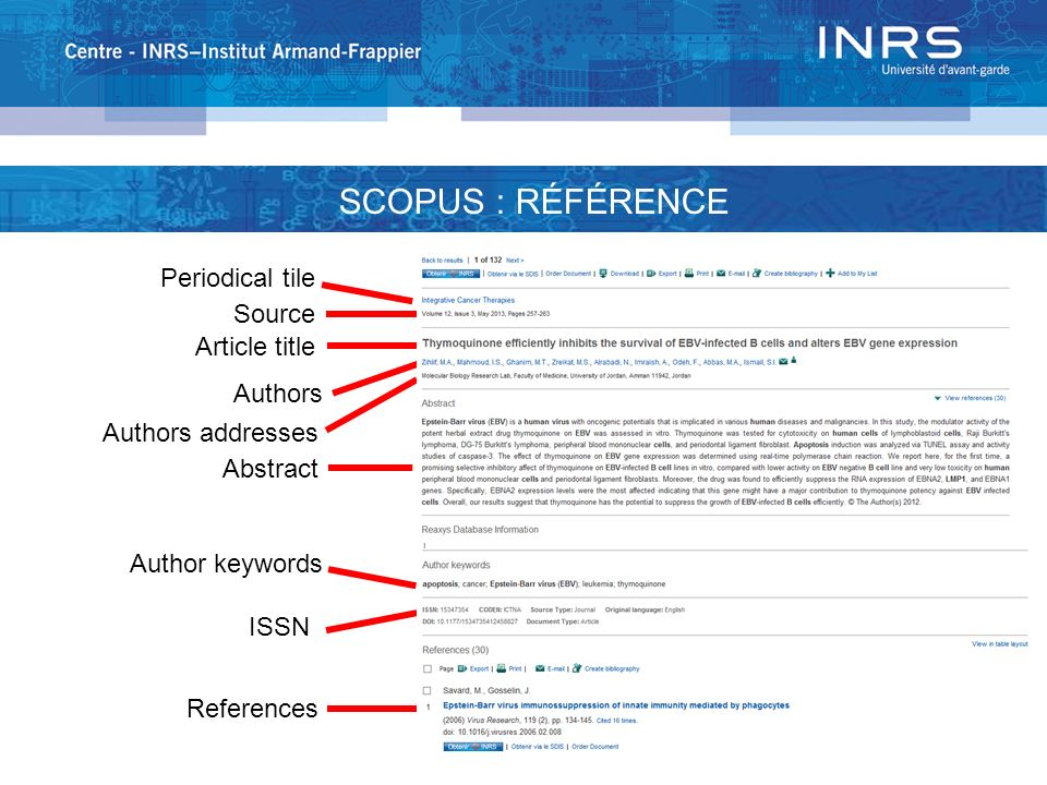 SCOPUS : RÉFÉRENCE Periodical tile Source Article title Authors