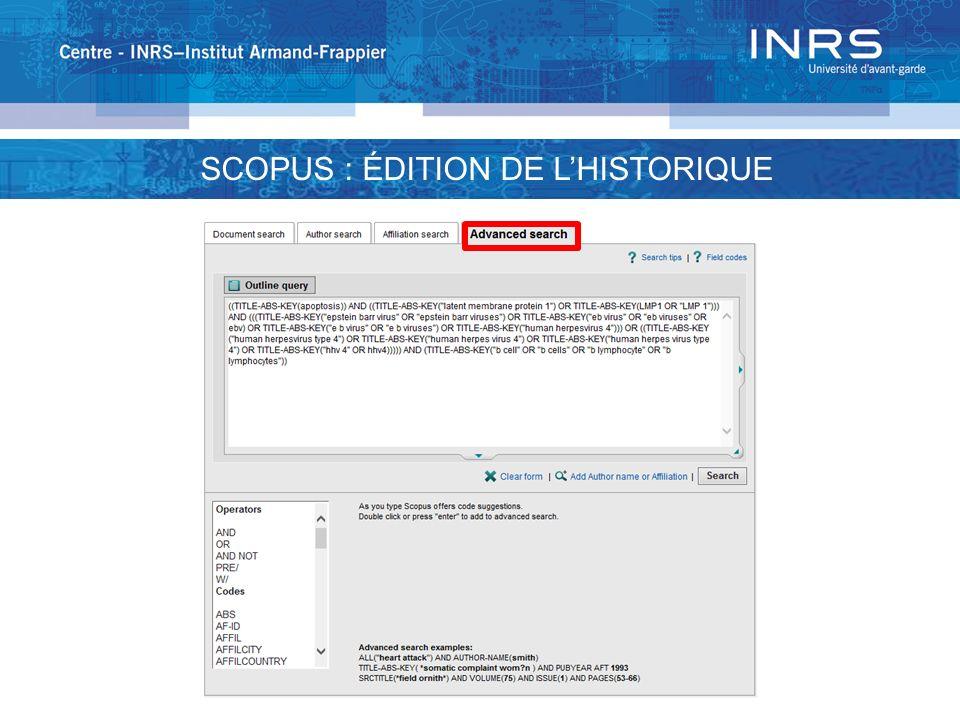 SCOPUS : ÉDITION DE L'HISTORIQUE