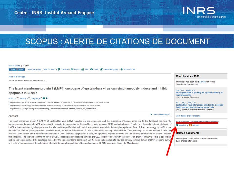 SCOPUS : ALERTE DE CITATIONS DE DOCUMENT