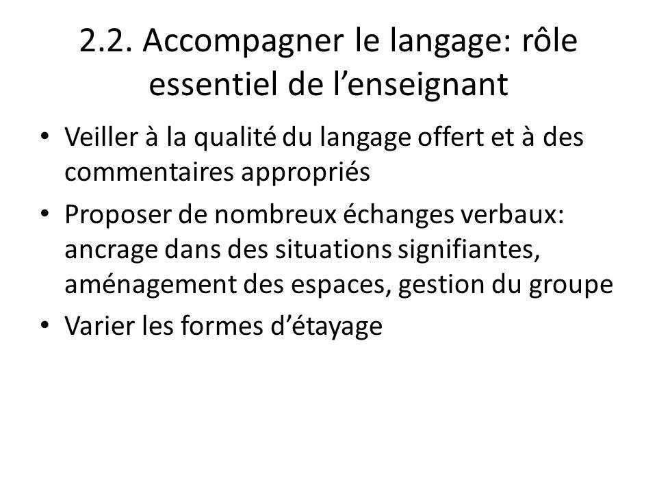 2.2. Accompagner le langage: rôle essentiel de l'enseignant