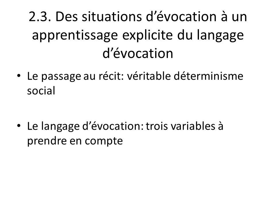 2.3. Des situations d'évocation à un apprentissage explicite du langage d'évocation