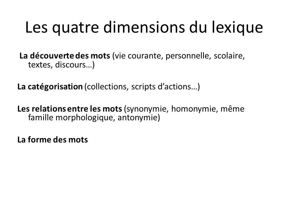 Les quatre dimensions du lexique