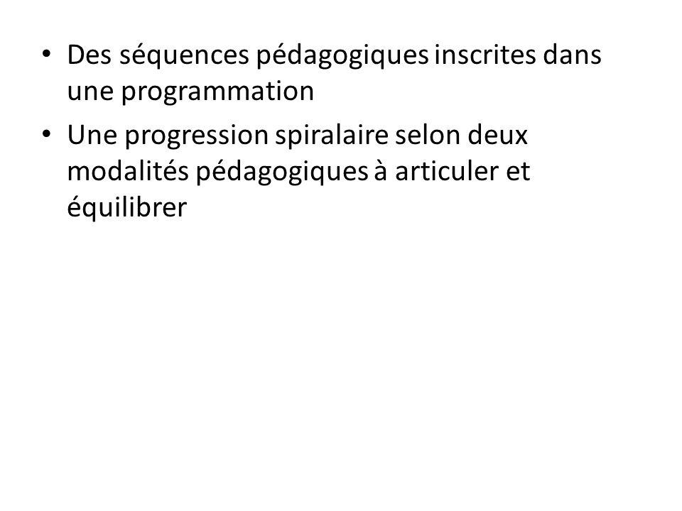 Des séquences pédagogiques inscrites dans une programmation