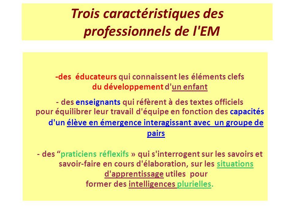 Trois caractéristiques des professionnels de l EM