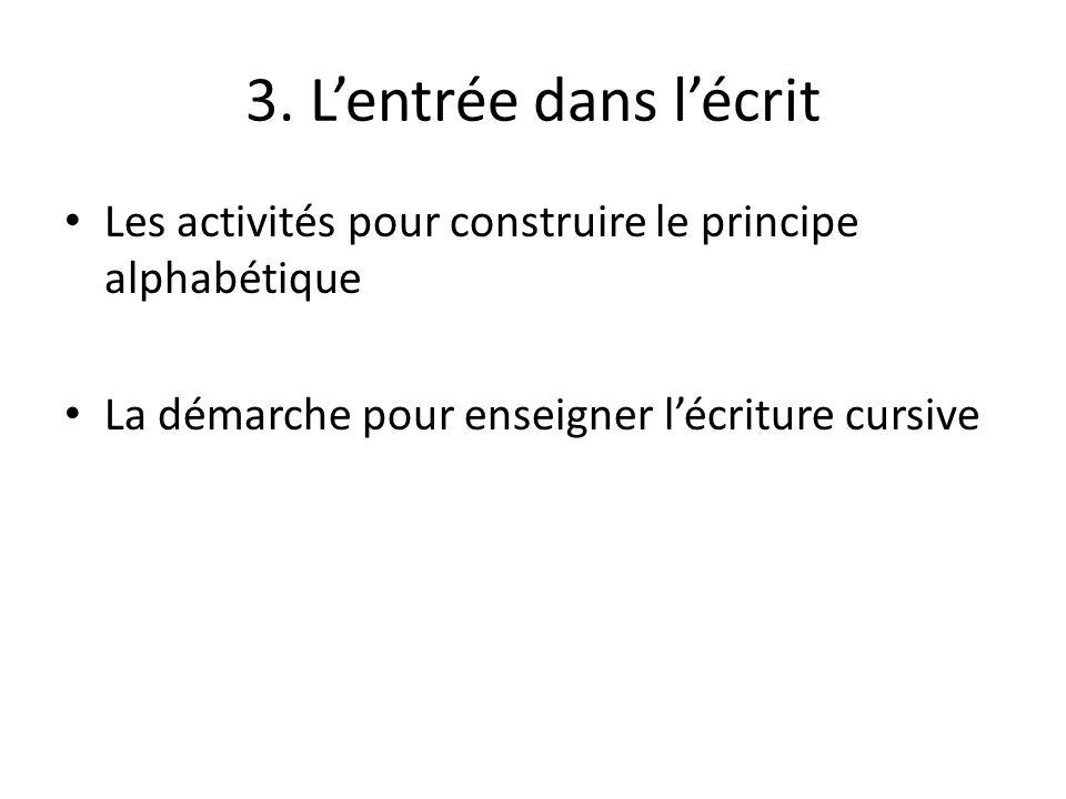 3. L'entrée dans l'écrit Les activités pour construire le principe alphabétique.