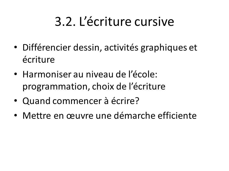 3.2. L'écriture cursive Différencier dessin, activités graphiques et écriture. Harmoniser au niveau de l'école: programmation, choix de l'écriture.