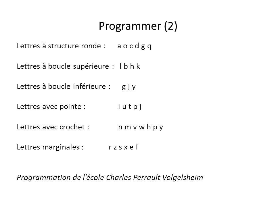Programmer (2) Lettres à structure ronde : a o c d g q