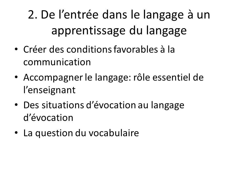2. De l'entrée dans le langage à un apprentissage du langage