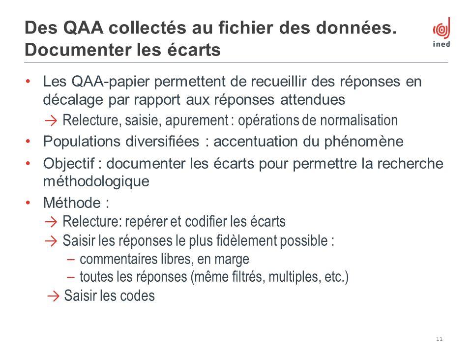 Des QAA collectés au fichier des données. Documenter les écarts