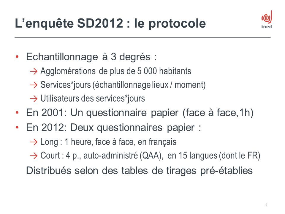 L'enquête SD2012 : le protocole