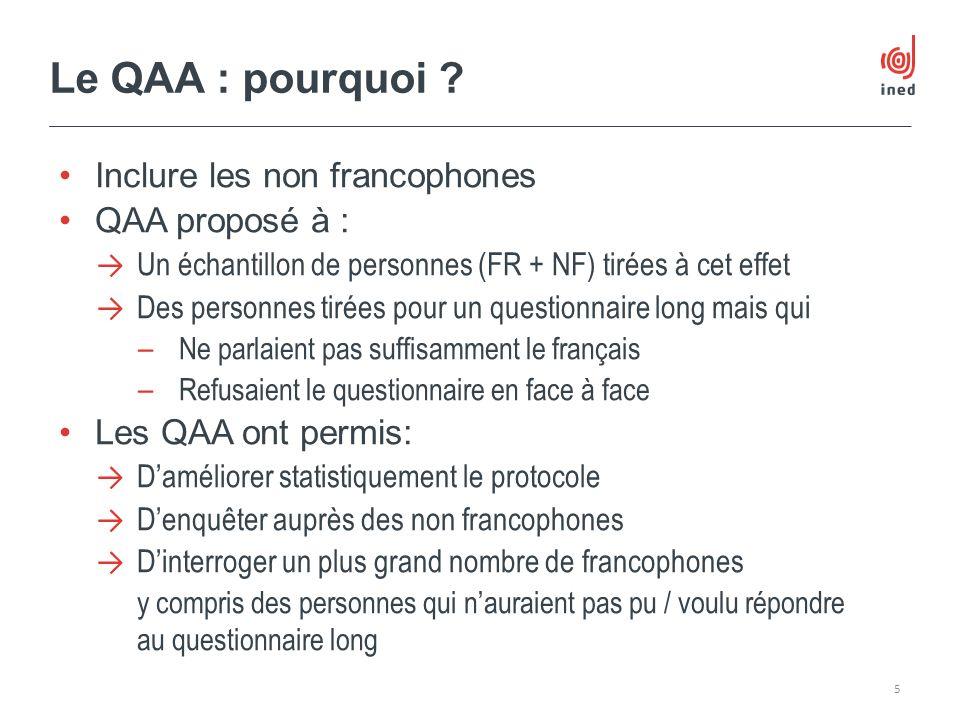 Le QAA : pourquoi Inclure les non francophones QAA proposé à :
