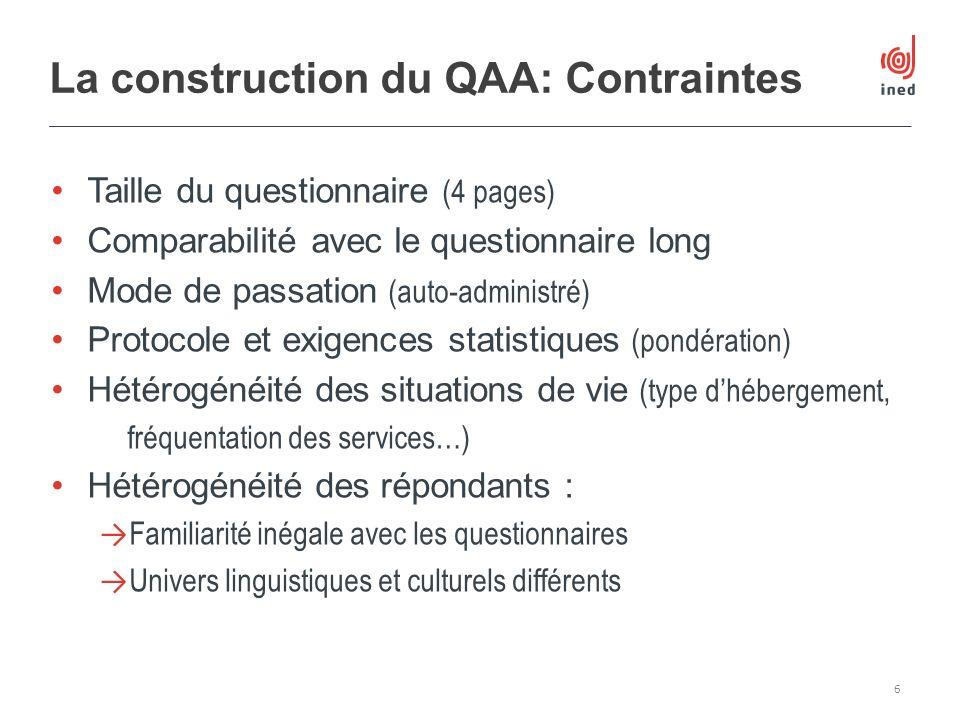 La construction du QAA: Contraintes