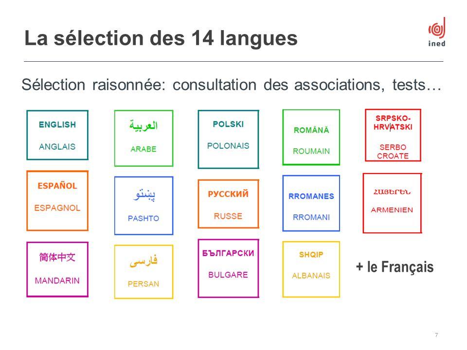 La sélection des 14 langues