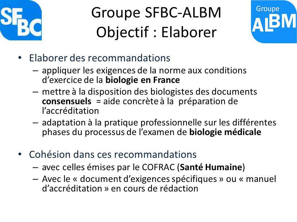 Groupe SFBC-ALBM Objectif : Elaborer