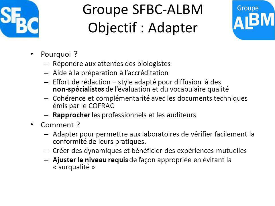 Groupe SFBC-ALBM Objectif : Adapter