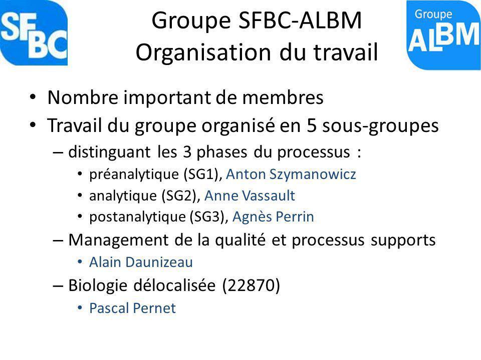 Groupe SFBC-ALBM Organisation du travail