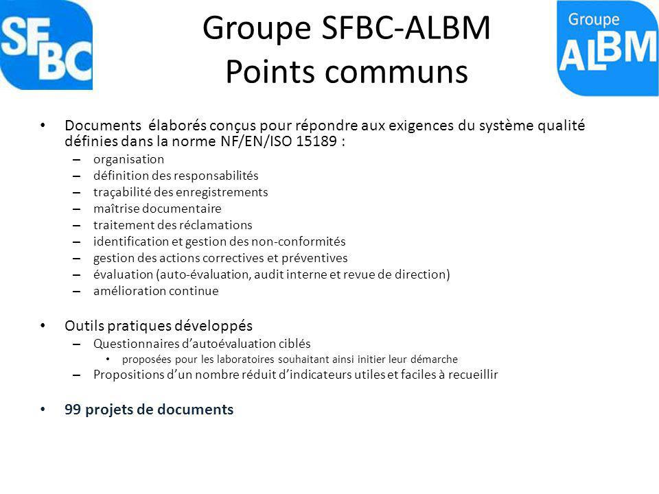 Groupe SFBC-ALBM Points communs