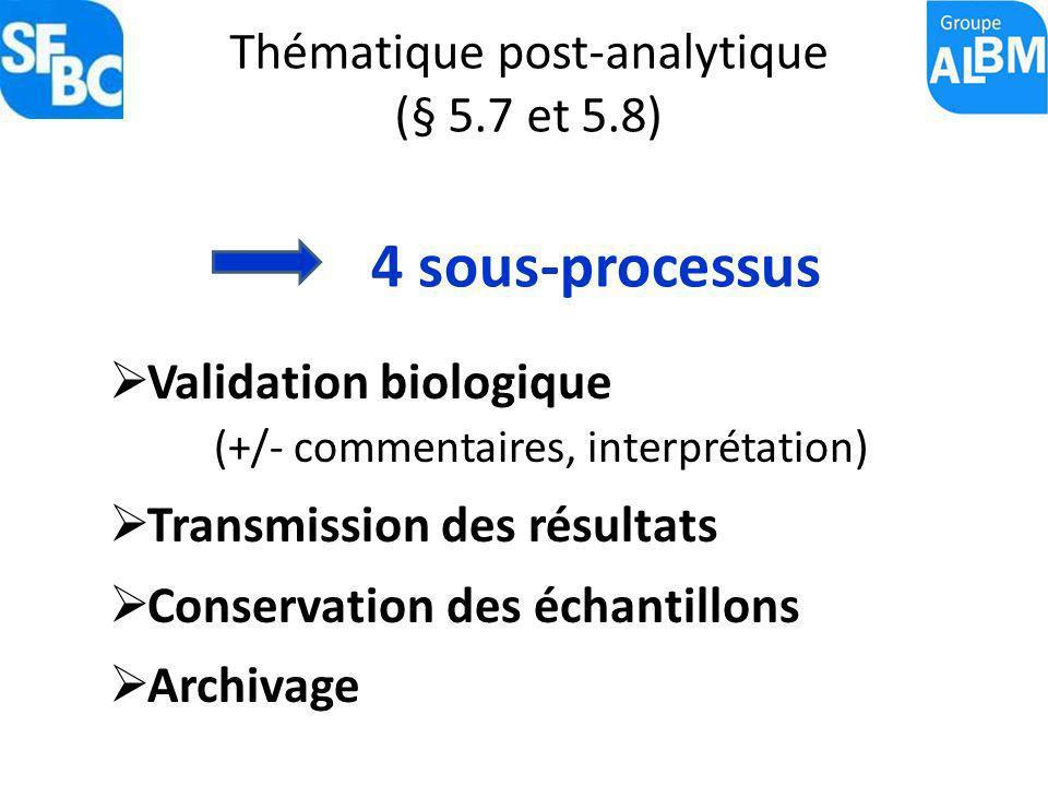Thématique post-analytique (§ 5.7 et 5.8)