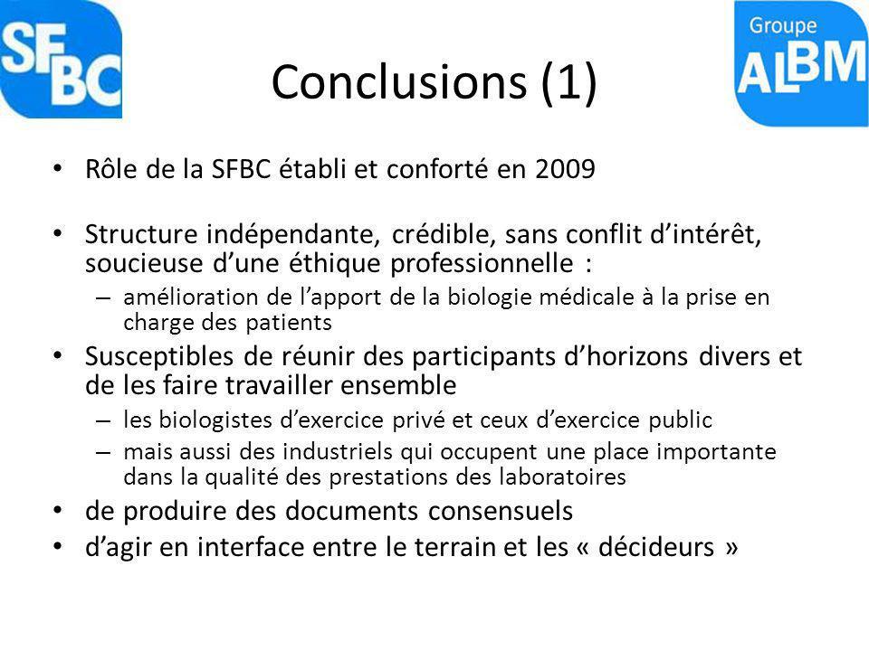 Conclusions (1) Rôle de la SFBC établi et conforté en 2009